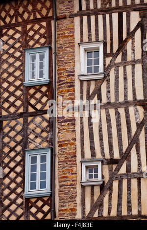 Timber framed houses in the city of Rennes. Ille-et-Vilaine, Brittany, France, Europe - Stock Photo