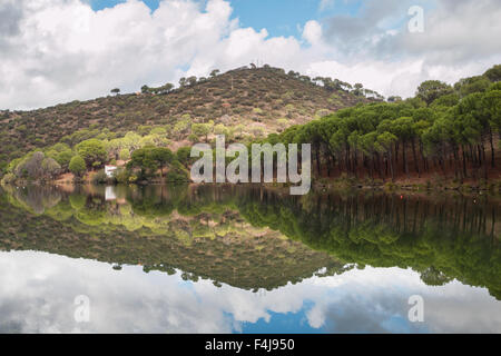 Trekking along Rio Alberche, Spain - Stock Photo