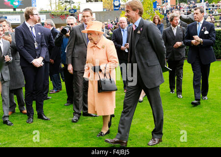 17.10.2015 - Ascot; Queen Elizabeth II and Johnny Weatherby (Duke of Devonshire as The Queen's representative). - Stock Photo