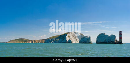 A 2 picture stitch panoramic of The Needles off the western extremity of the Isle of Wight, close to Alum Bay. - Stock Photo