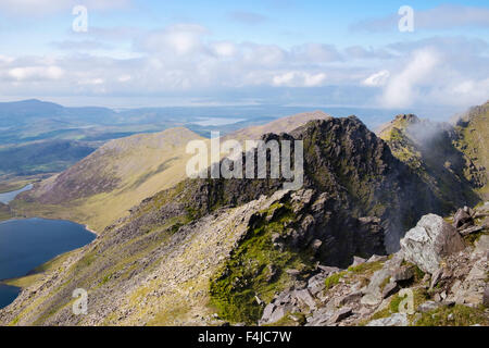 Beenkeragh ridge and Coomloughra Glen from Carrauntoohil in MacGillycuddy Reeks, Killarney, County Kerry, Eire, - Stock Photo
