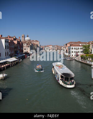 Boats on Canal Grande in Venice Italy - Stock Photo