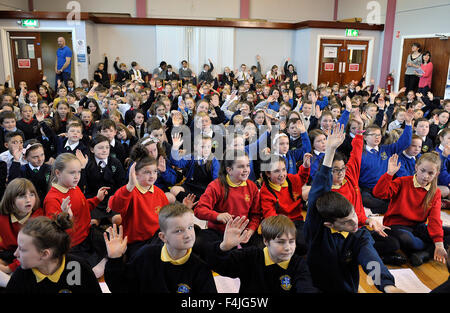 Primary school children in Northern Ireland rehearsing songs for choral festival. ©George Sweeney/Alamy - Stock Photo