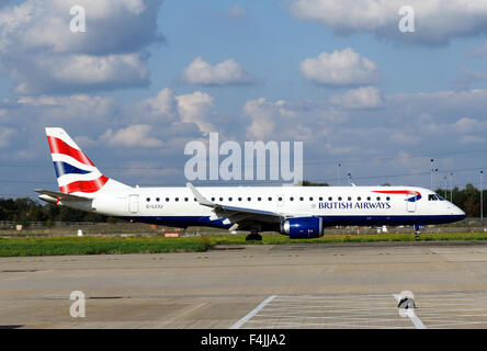 BA CityFlyer Embraer ERJ-190SR at London City Airport. UK - Stock Photo