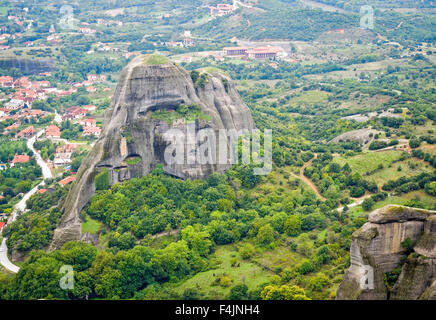 Spectacular Meteora rock formations and monasteries, Meteora, Plain of Thessaly, Greece - Stock Photo