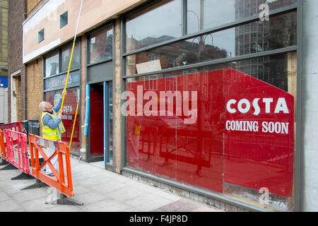 Southport, Merseyside, UK 19th October, 2015. New Costa Coffee shop front refurbishment, coming soon, to open in - Stock Photo