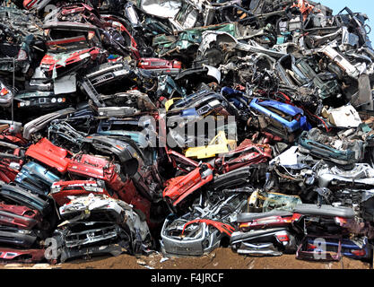 Car breakers Car scrap yard Scrap Yard  Zaandam, Netherlands ( Noordzeekanaal North Sea Canal )  Dutch - Stock Photo