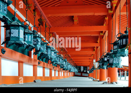 NARA,JAPAN-NOVEMBER 2014; Kasuga Taisha Shrine is famous for its bronze lanterns, which have been donated by worshipers. - Stock Photo