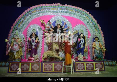 Oct. 19, 2015 - A bangali priest performing ''Shashtra Pujan'' Ritual during Navaratri Festival Celebration in Allahabad - Stock Photo