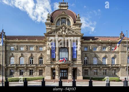 The Palais du Rhin / Palace of the Rhine at the Place de la République square in Strasbourg, Alsace, France - Stock Photo