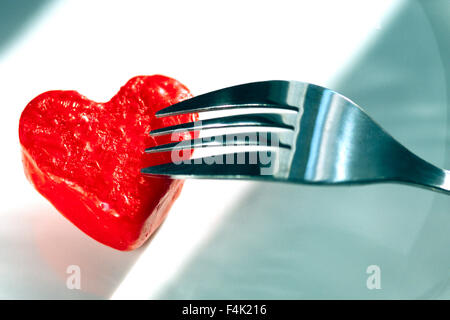 Fork Carving Heart Shape - Stock Photo