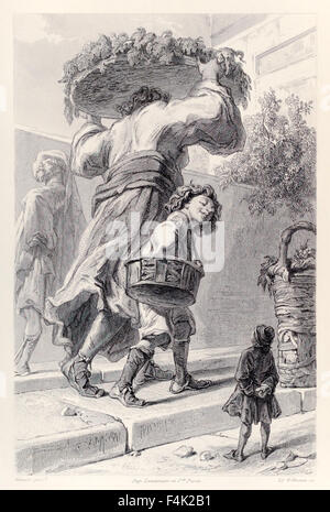 Gulliver and Lordbruldrud, from French Edition of 'Gulliver's Travels' by Jonathan Swift (1667-1745), illustration - Stock Photo