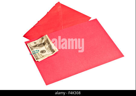 Crumpled Hundred Dollar Bill Inside Blank Red Greeting Card - Stock Photo