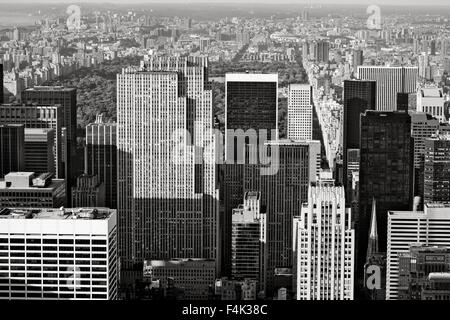 Midtown Manhattan with a view of Central Park and Upper Manhattan. Aerial view of Manhattan's skyscrapers, New York - Stock Photo