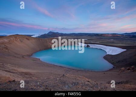 Viti crater at dusk, Krafla volcanic area, Myvatn, Nordhurland Eystra, Iceland. - Stock Photo