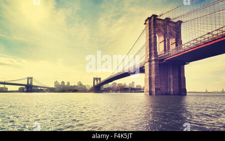 Vintage filtered picture of Brooklyn Bridge in New York City, USA. - Stock Photo