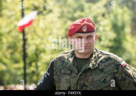 A member of the Polish Military attends the Armed Forces Day in Warsaw - Stock Photo