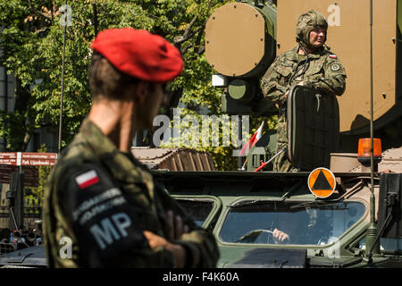 A soldier of the Polish Military attends the Armed Forces Day in Warsaw - Stock Photo
