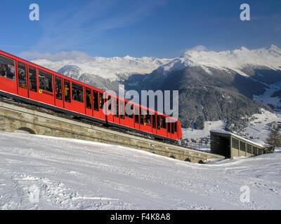 The Parsenn train in Davos, Switzerland - Stock Photo