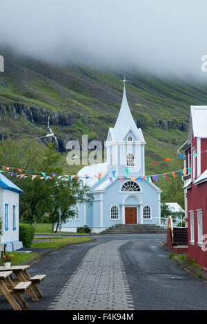 Traditional church in Seydisfjordur village, Austurland, Iceland. - Stock Photo