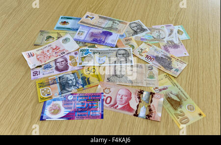 Polymer plastic bank notes produced by Innovia Securities. part of Innovia Films who have their Headquarters in - Stock Photo
