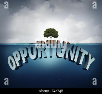 Unknown opportunity concept as three dimensional text hidden underwater with a viral healthy tree growing on a small - Stock Photo