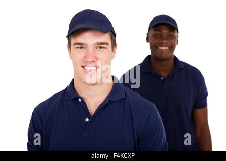 handsome young two workers on white - Stock Photo