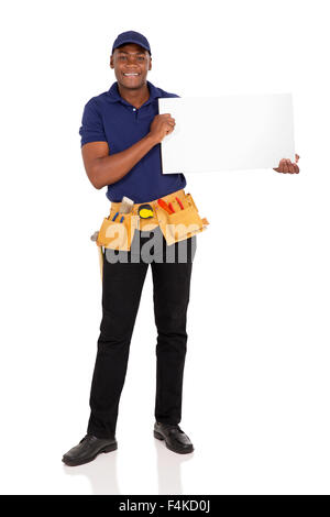 professional African repairman holding white board - Stock Photo