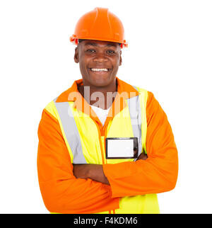 cheerful young African male contractor looking at the camera - Stock Photo