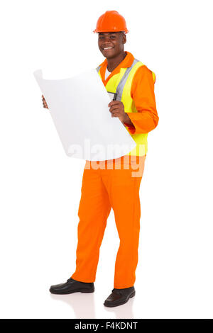 happy young African architect holding blue print on white background - Stock Photo