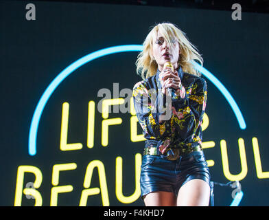 Musician Emily Haines of Metric performs on stage during Life Is Beautiful Festival in Las Vegas - Stock Photo