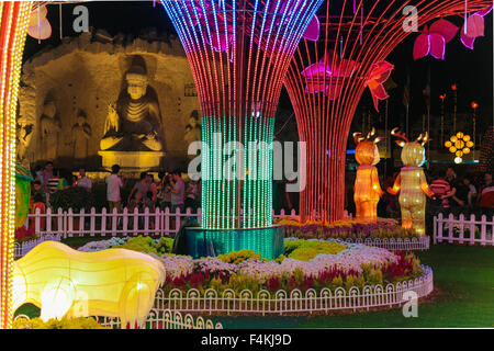 LED metal tree garden decorations at FGS buddhish temple, Jenjarom Malaysia during chinese new year 2014. - Stock Photo