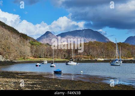 Loch Leven at North Ballachulish,  last light, Pap of Glencoe,  Highland,  Scotland, UK - Stock Photo