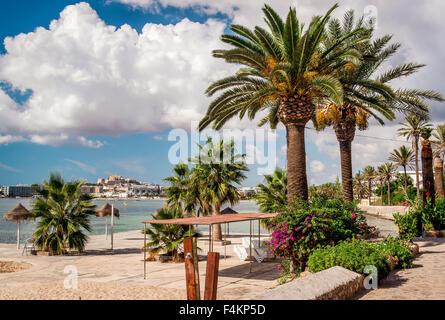 Seafront promenade of Ibiza. Balearic Islands. Spain - Stock Photo