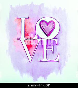 Word LOVE over abstract watercolor painting and purple heart - Stock Photo