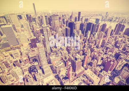 Vintage retro toned view of Manhattan, New York City, USA - Stock Photo