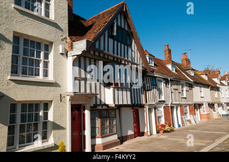 Abbey Street is described in Pevsner as 'Faversham's showpiece' and is one of Britain's finest mediaeval streets. - Stock Photo
