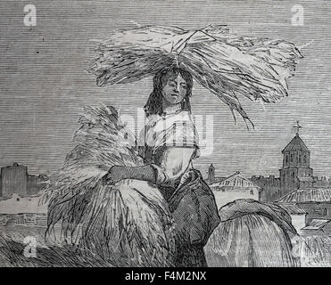 Europe. Spain. Spanish customs. Harvest. Drawing by Valeriano Becquer and engraving by Rico. Almanac. The Illustration, - Stock Photo