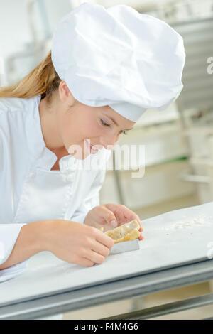 Woman making a fancy dessert - Stock Photo