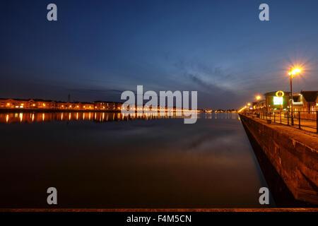 Preston's Albert Dock at Night - Stock Photo