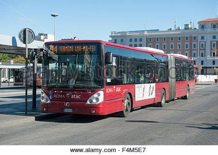 Rome Italy ATAC urban bus outside Termini Station. - Stock Photo