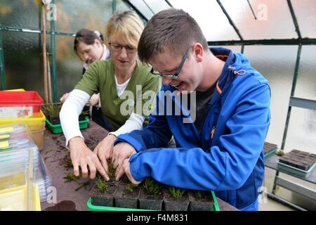 Handicapped  man Christoph Schmidt (right) works together with a non handicapped woman in a garden, Germany, city - Stock Photo