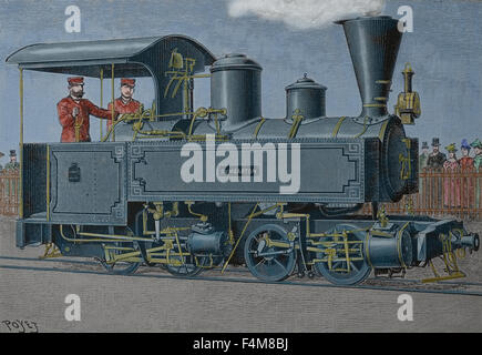 Steam locomotive. 19th century. Engraving. Later colouration. - Stock Photo