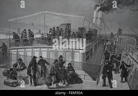 On board the emigrant ship. 19th century. Engraving. - Stock Photo