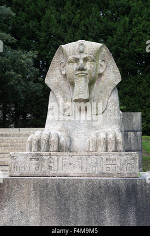 Egyptian sphinx in Crystal Palace Park, London. - Stock Photo