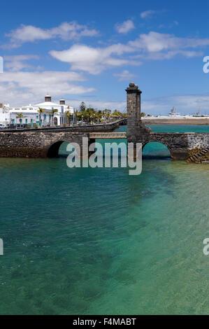 Puente de las Bolas (Bridge of the Balls) drawbridge Arricife  capital city of Lanzarote, Canary Islands, Spain. - Stock Photo