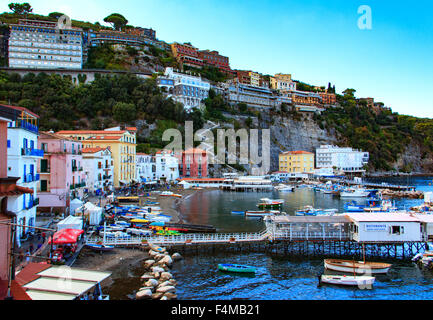 The seaside village of Marina Grande in Sorrento, Italy - Stock Photo