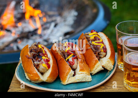 Hot dogs with fried onions - Stock Photo