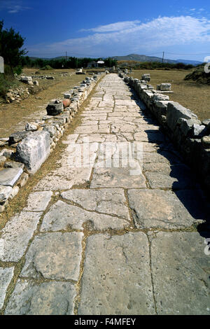 greece, northeastern aegean islands, samos, heraion, sacred street - Stock Photo