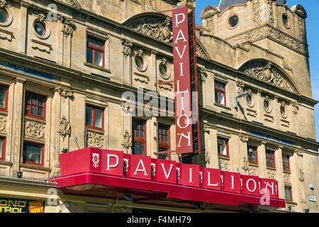 Pavilion Theatre sign, Glasgow city centre, Scotland, UK - Stock Photo